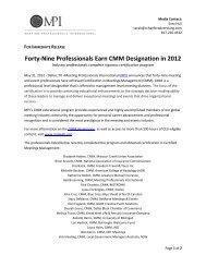 Forty-Nine Professionals Earn CMM Designation in 2012