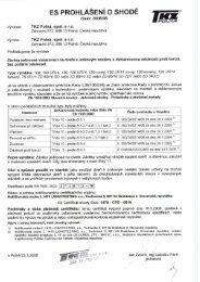 Prohlášení o shodě + certifikát - ROVEL CZ