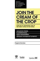join the cream of the crop - Institut de tourisme et d'hôtellerie du ...