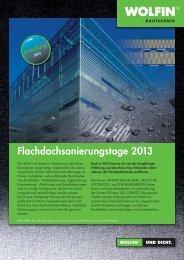 Flachdachsanierungstage 2013 - WOLFIN Bautechnik
