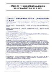 zápis ze 17. mimořádného jednání as, konaného dne 27. 9. 2001
