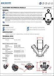 valve body w9 pnw25 w/m16x1,5 general features ... - Keofitt