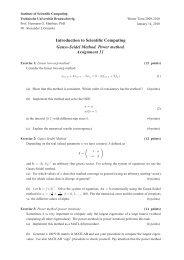 Introduction to Scientific Computing Gauss-Seidel Method. Power ...