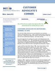 customer advocate's corner - National Technical Information Service