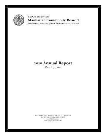 Community Board 1 - Annual Report for 2010 - NYC.gov