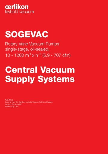 SOGEVAC Central Vacuum Supply Systems