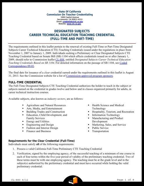 Designated Subjects Career Technical Education Teaching