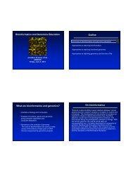 Bioinformatics and Genomics Education Outline What are ... - asmcue