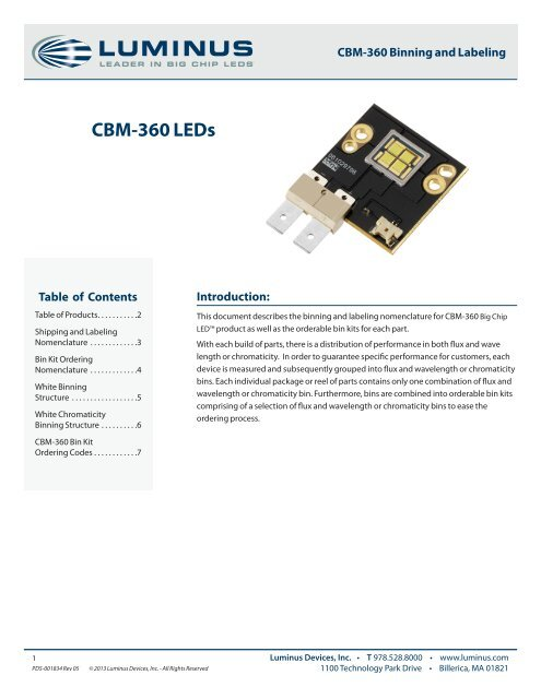 CBM-360 Binning and Labeling - Luminus Devices