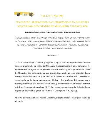 Vol. 2, N° 1. Año 1998 NIVELES DE LIPOPROTEINA (a) Y ...