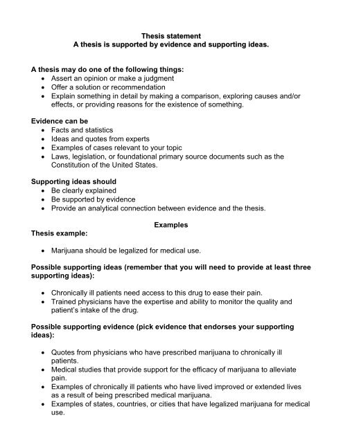 Evidence example statement thesis writing a teaching resume