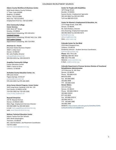 colorado recruitment sources 1 - Colorado Department of ...