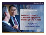 Dynamic Change – Supplier Engagement: Building Pairs ... - Summit