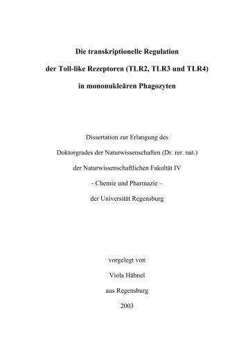 Die transkriptionelle Regulation der Toll-like Rezeptoren (TLR2 ...