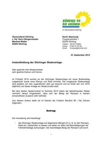 Instandhaltung der Gilchinger Skateranlage Antrag - Bündnis 90/Die ...