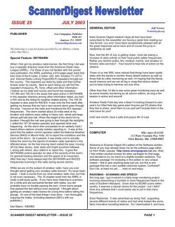 Issue 25 - Scanner Digest Newsletter