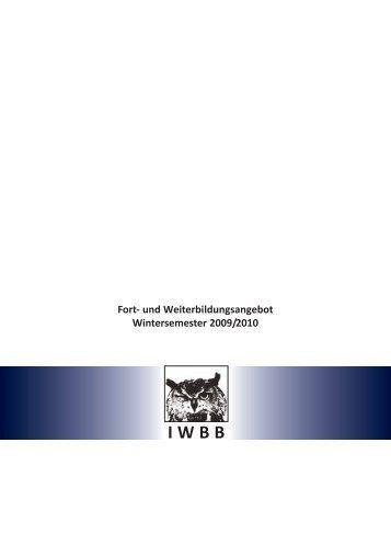 Fort- und Weiterbildungsangebot Wintersemester 2009/2010