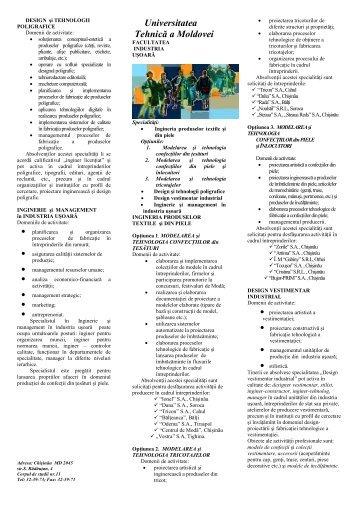 S p e c i a l i t ă ţ i - Universitatea Tehnică a Moldovei