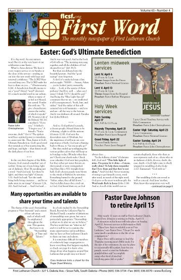 Easter: God's Ultimate Benediction - First Lutheran Church of Sioux ...