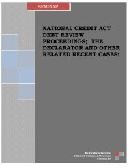 national credit act debt review proceedings; the ... - Cape Law Society