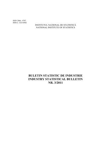 Buletin statistic de industrie 3/2011 - Institutul National de Statistica