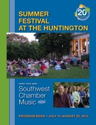 See Program Book - Southwest Chamber Music