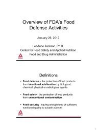 Overview of FDA's Food Defense Activities - Food and Drug Law ...