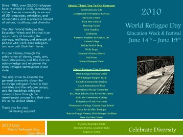 World Refugee Day Festival Saturday, June 19th Granite High ...