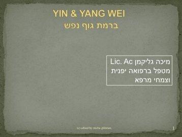 מעטפות YIN & YANG Wei והשפעה על איזון מבנה של