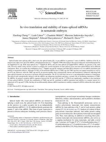 In vivo translation and stability of trans-spliced mRNAs in nematode ...