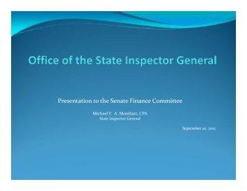 Introduction of New Inspector General - Virginia Senate Finance ...