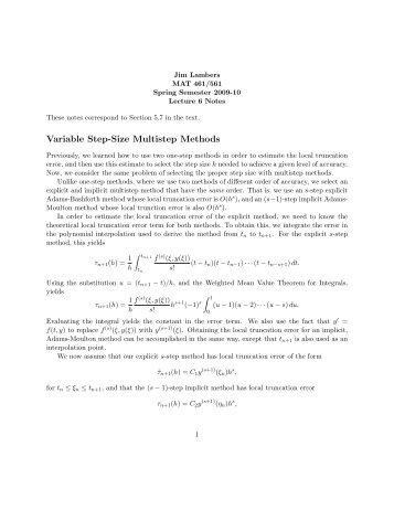 Variable Step-Size Multistep Methods