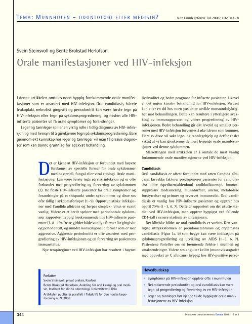 Orale manifestasjoner ved HIV-infeksjon - Den norske ...