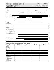 Pediatric Travel Questionnaire - Providence Washington