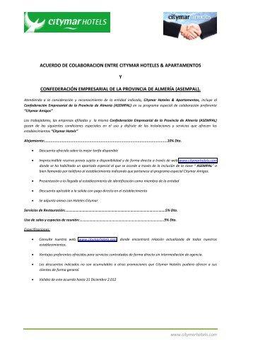 acuerdo de colaboracion entre citymar hoteles ... - Asempal