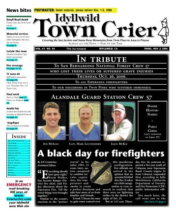 Idyllwild In tribute - Idyllwild Town Crier