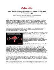 Sabre lancia la più innovativa piattaforma di applicazioni B2B per l ...
