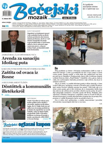 Zaštita od ovaca iz Bosne Döntöttek a kommunális ... - Bečejski mozaik