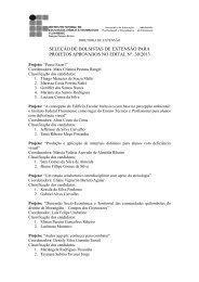 seleção de bolsistas de extensão para projetos aprovados no edital ...