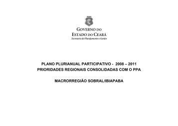 Prioridades Regionais Consolidadas com o PPA SOBRAL - ce