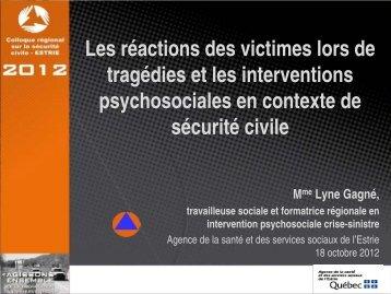 Les réactions des victimes lors de tragédies et les interventions ...
