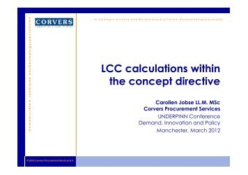 LCC calculations within the concept directive - Understanding Public ...