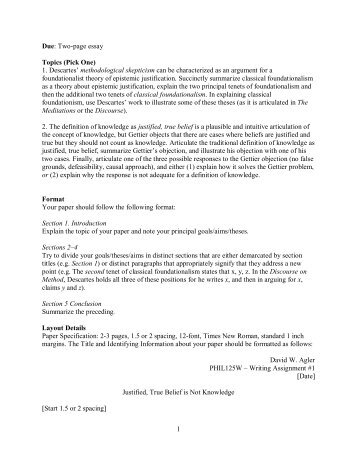 1 Due: Two-page essay Topics (Pick One) 1 ... - David W. Agler