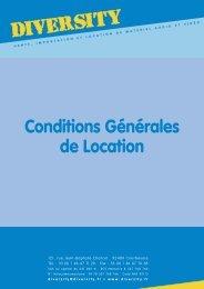 Conditions Générales de Location - Diversity