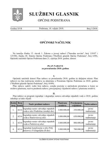 SLUŽBENI GLASNIK - Općina Podstrana