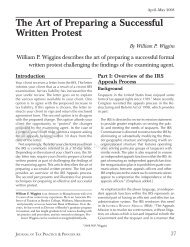 The Art of Preparing a Successful Written Protest By William P ... - CCH