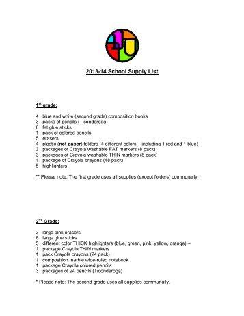 2013-14 School Supply List - SAR Academy