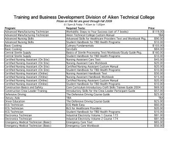 Training and Business Development Division of Aiken Technical ...