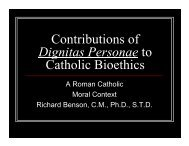 Contributions of Dignitas Personae to Catholic Bioethics - NCCL
