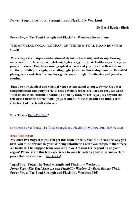 Power Yoga: The Total Strength and Flexibility Workout PDF